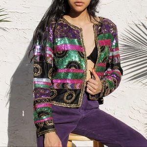 80s Vintage Silk Sequin Cocktail Blazer ⭐️